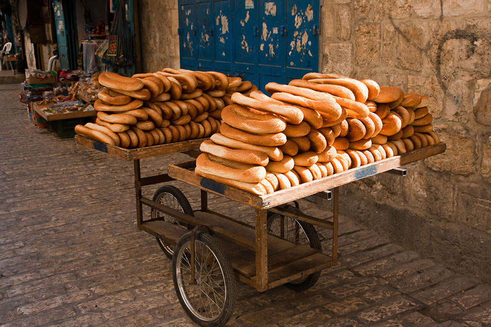 Cart of bread in the streets of Old Jerusalem