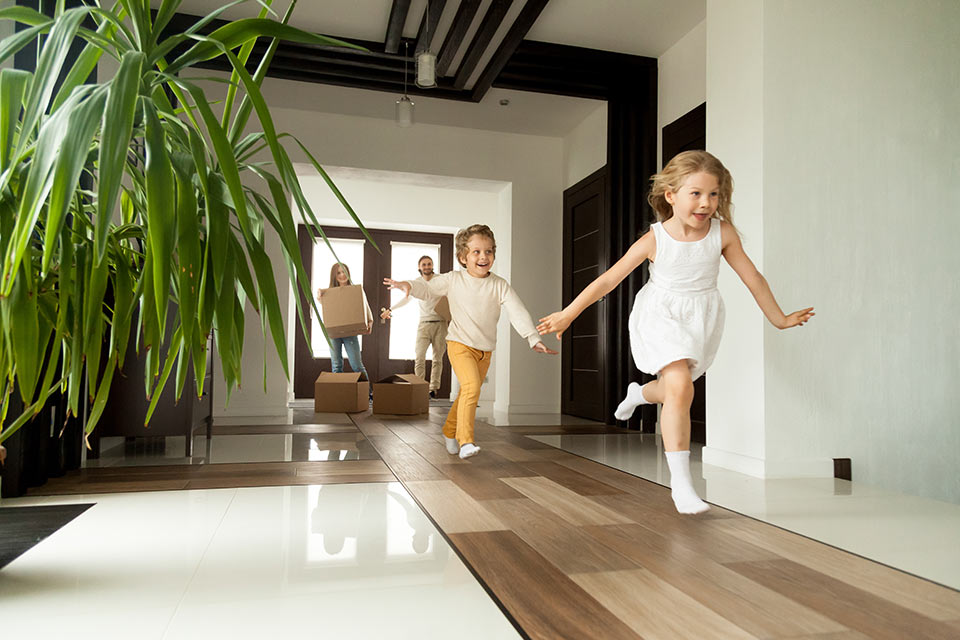 Happy young family in Apartment